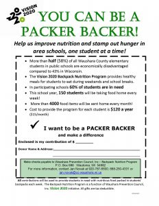 YOU CAN BE A PACKER BACKER flyer-Waushara Co Employees