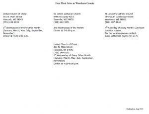 Waushara County Free Meal Sites - click here to enlarge